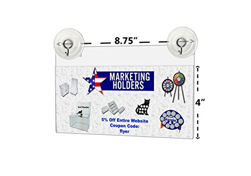 Marketing Holders Window Mount Ad Frame Sign Holder 8.75 x 4 Inch with 2 Suction Cups with Hooks for Business, Store, Restaurant, School (Lot of 2) by Marketing Holders