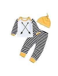 Matoen Toddler Baby Boys Girls Stripe Long Sleeve Arrow Print Top Clothes+Long Pants+Hat Set Outfit 3PCS