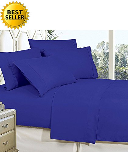 Celine Linen Best, Softest, Coziest Bed Sheets Ever! 1800 Thread Count Egyptian Quality Wrinkle-Resistant 4-Piece Sheet Set with Deep Pockets 100% Hypoallergenic, Full Royal Blue