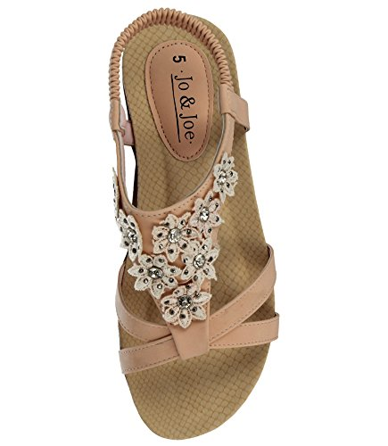 Back Jo Joe Fashion Leather 3 Blush amp; 8 Taglia T Ladies Infradito Toe Diamante Piatto Peep Flower Faux Sandali Sling bar wCwp8qF