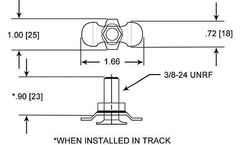 Tiedown 12-Pack Aluminum Load Track Mounting Kit w// Stud Nut