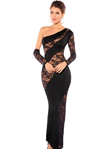 Women's Elegant Figure Flattering One Shoulder Splicing Sheer Maxi Diva Dress(black) (Sexy Black Wedding Dress)