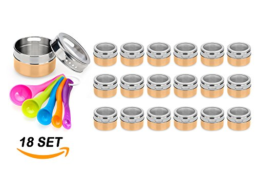 Stainless Steel Magnetic Spice Jars – Bonus Measuring Spoon Set – Airtight Kitchen Storage Containers – Stack on Fridge to Save Counter & Cupboard Space – 18pc Organizers in Gold (Spice Rack Gravity Zero)