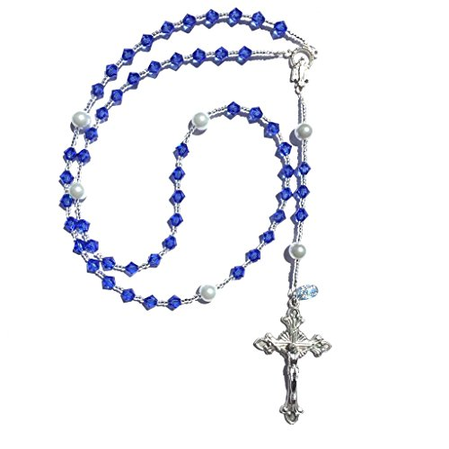 Rana Jabero Sapphire Blue (September Birthstone) Swarovski Crystal and Glass Pearl Rosary