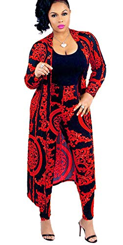(Womens Open Front Cardigan Outerwear Jacket and Pants 2 Piece Outfits Red M)