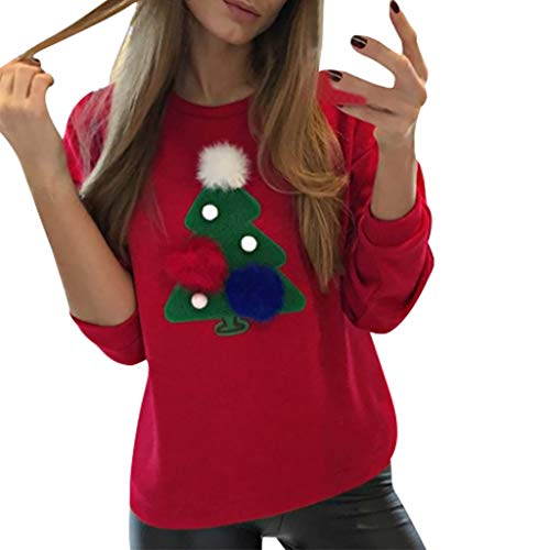 JHKUNO Shirts Christmas Tree Print Sweatshirt for Women Appliques Hairball Long Sleeve Pullover Shirt Tops Blouse Red (Tree Applique Sports Christmas)