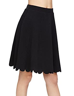 SheIn Women's Basic Stretchy Scallop Hem A Line Skirt