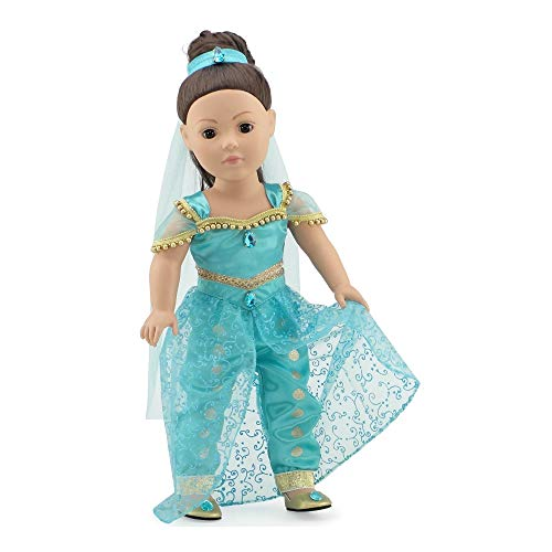 Princess Jasmine Outfit Ideas (Emily Rose 18 Inch Doll Clothes | Stunning 4 Piece Jeweled Princess Jasmine Inspired Outfit, Including Shoes! | Fits 18