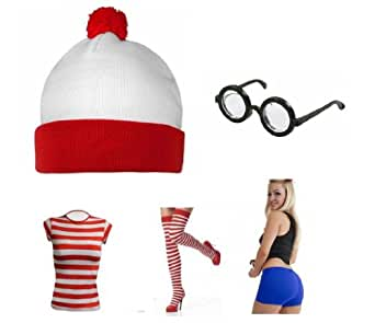 Dónde está Wally Tamaño 8 (Cinco piezas Set: sombrero, gafas ...