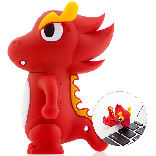 Bone Collection 8GB USB Flash Drive, Cute Cartoon Character Novelty Design Memory Stick Thumb Drive Jump Drive Pen Drive for Students Kids Children - Dragon (Red)