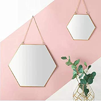 BEACH D 16 Large Hanging Hexagon Gold Brass Wall Mirror with Chain