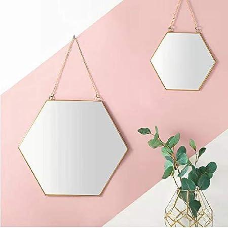 Small BEACH/'D BD-041 BEACHD 9.5 Hexagon Copper Wall Mirror with Chain