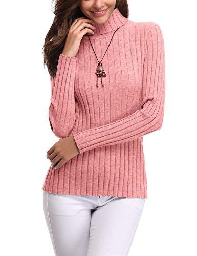 - Abollria Women's Long Sleeve Solid Lightweight Soft Knit Mock Turtleneck Sweater Tops Pullover Pink