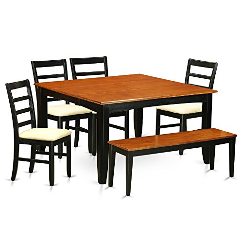 East West Furniture PARF6-BLK-C 6 PC Dining Room Table Set-Dining Table & 4 Chairs & One Benches