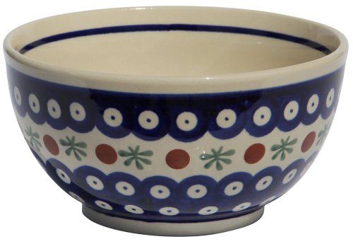 Polish Pottery Ice Cream / Cereal Bowl From Zaklady Ceramiczne Boleslawiec #971-41 Traditional Pattern, Height: 2.8