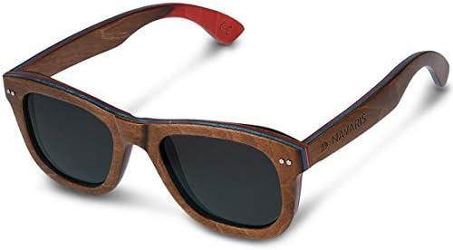 Navaris lunettes de soleil – Lunettes polarisées UV400 en bois zébré avec étui – Homme femme – Bois de skateboard – différentes couleurs