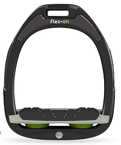【 限定】フレクソン(Flex-On) 鐙 ガンマセーフオン GAMME SAFE-ON Mixed ultra-grip フレームカラー: ブラック フットベッドカラー: グレー エラストマー: グリーン 06272   B07KMMP3ZZ