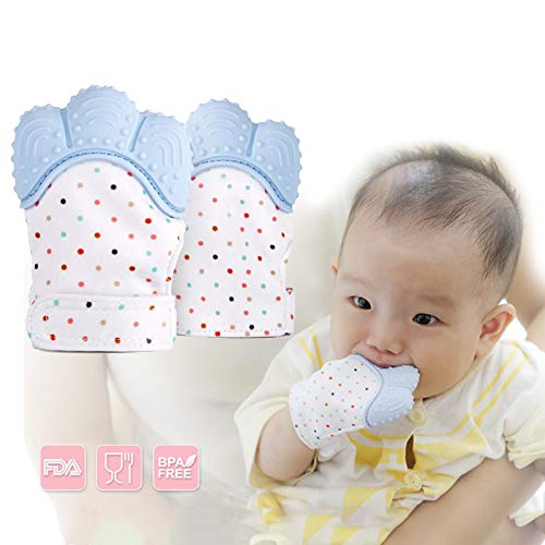 Blue DorAn Baby Silicone Mitts Teething Mitten Silicon Glove Newborn Chewable Toy Nursing Mittens Teether Infant BPA Free Toys for Children 2 Pack