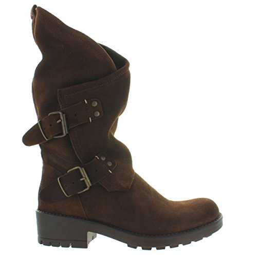 (Coolway Alida - Brown Suede Slouchy Dual Buckle Boot - Size: 39)
