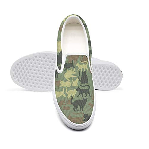 Pretty Women Lazy Canvas Slip-On Shoes Camouflage cat