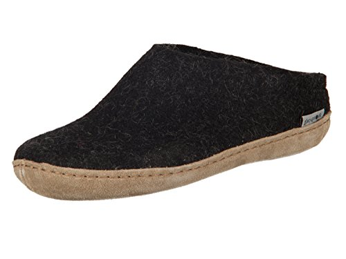 Glerups Unisex Model B Charcoal Slipper - 38 ,38 (US Women's 8-8.5) B(M) US (Mens Boiled Slippers)