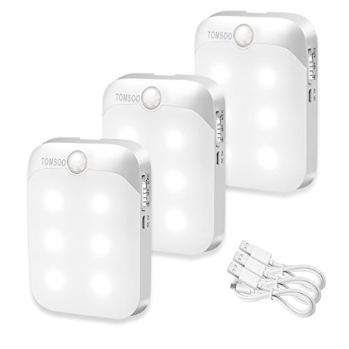 TOMSOO Rechargeable Motion Sensor Light, 6-LED Stick Anywhere Wireless Smart Motion Activated Closet Light, Indoor Security Light for Stair/Kitchen/Bathroom/Laundry Room/Hallway, 3pcs, White