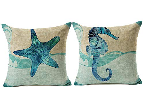 Throw Pillow Covers 18x18 Inch Set of 2 - Cotton Linen Blue Theme Ocean Starfish Seahorse Beach Game Pillow Covers, Decorative Pillowcase for Home Sofa Bedding Couch Outdoor Cushion Covers.