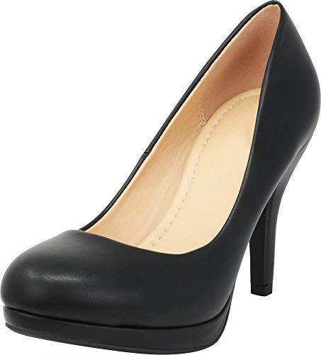 Cambridge Select Women's Closed Round Toe Padded Comfort Slip-On Platform Stiletto High Heel Pump (6 B(M) US, Black PU) ()