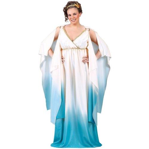 [Fun World Plus Size Greek Goddess Costume, Crème/Light Blue, 16W-24W] (Halloween Costumes Renaissance)