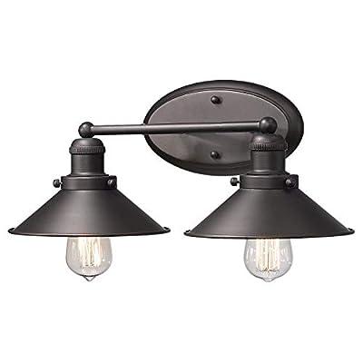 Zeyu 2-Light Bathroom Wall Light Fixtures, Industrial Vanity Lights in Oil Rubbed Bronze Finish with Metal Shade, 102-2W ORB