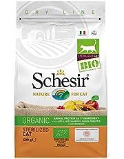 Schesir, Cibo Secco BIO per Gatti Adulti sterilizzati o in sovrappeso al Gusto Pollo, crocchette - Totale 3,2 kg (8 Sacchetti da 400g)