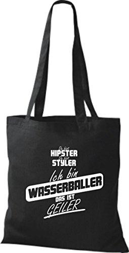 Shirtstown Stoffbeutel du bist hipster du bist styler ich bin Wasserballer das ist geiler schwarz