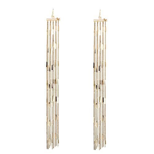 - GUYUEXING Tassel Earrings, Gold Long Chain Dangle Drop Earrings for Women Girls