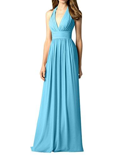 Neckholder La Chiffon Brau Promkleider Partykleider Abendkleider A mia Blau Linie Brautjungfernkleider Geraft Festlichkleider Lang qqw4xEr
