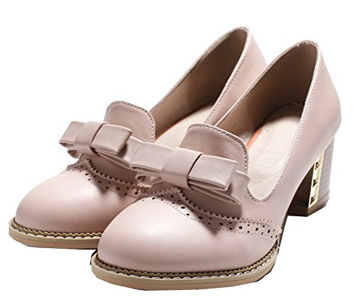 Round Toe WeiPoot Shoes Pink Pumps Heels Kitten Women's Pull On PU Solid qq0SOwx8