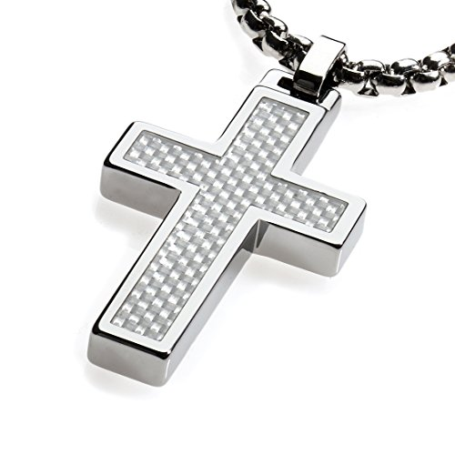 GESTALT COUTURE Unique Tungsten Cross Pendant. White Carbon Fiber Inlay with 4mm wide Surgical Stainless Steel Box Chain.