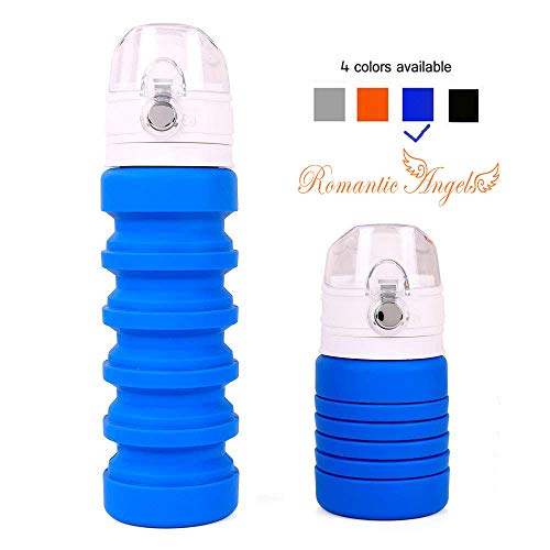 Romantic Angels Collapsible Drink Bottle Silicone Fordable Sports Water Bottle for Travel Outdoors (Blue)