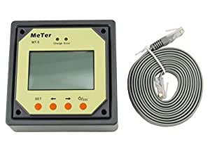 Sun YOBA MT-5 LCD Display Remote Meter for Solar Regulator, Come with 2 Meters Cable, for Tracer MPPT series Tracer1210RN, Tracer1215RN, Tracer2210RN, Tracer2215RN, Tracer3215RN, Tracer4210RN