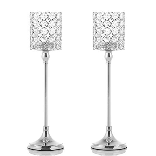 VINCIGANT Votive Silver Crystal Candle Holders/Candle Lanterns for Mothers Day Home Office Decor Wedding Coffee Table Decorative Centerpiece,2PCS 16 Inches Tall ()