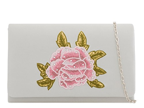 Out Evening Satin Night Handbags 2213 Floral Women's Bag Silver Purse LeahWard Wedding Clutch qR0xC