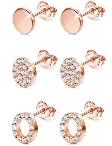 Sllaiss 925 Sterling Silver Cubic Zirconia Disc Stud Earrings Set Mini Round Circle Pave Earrings 3 Pairs Dot Circle Earrings for Women Girls Hypoallergenic Rose Gold Tone