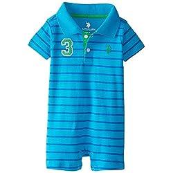 U.S. Polo Assn. Baby-Boys Newborn Short Sleeve Interlock Stripe Polo Romper