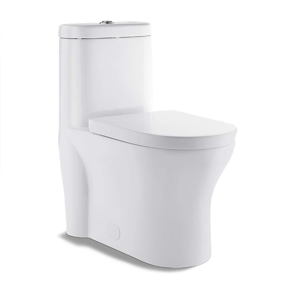 Swiss Madison SM-1T108 Monaco One Piece Elongated Dual 0.8/1.28 GPF Flush Toilet with Soft Closing Seat by Swiss Madison
