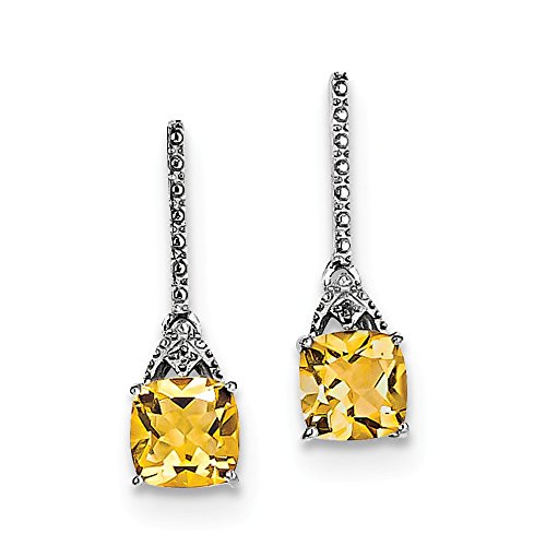 ium Plated Diamond & Citrine Post Earrings (Citrine And Diamond Earrings)