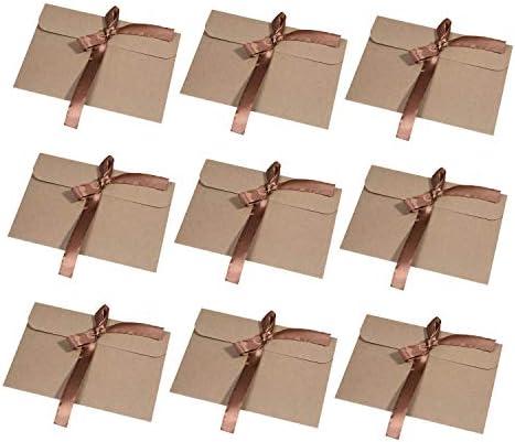 [Gesponsert]Wolintek [30 Stück] Kraftpapier Umschläge Retro Kraftpapier Vintage Kraft Briefumschläge in Hochwertiger Qualität Kraftkarte Recycelt für Grußkarten, Einladungskarten (Braunes Band) (braun)