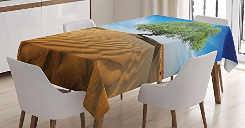 Tree of Life Decor Tablecloth by Ambesonne, Tree in the Desert on Sand Dune Dry But Alive Nature Habitat Life Theme Photo, Dining Room Kitchen Rectangular Table Cover, 60 X 84 Inches, Blue Cream Green