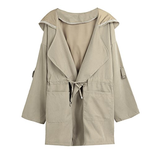 Zip Hooded Anorak - Anself Women Casual Roll Up Sleeve Zip-Up Parka Drawstring Hooded Anoraks Military Jacket With Pocket