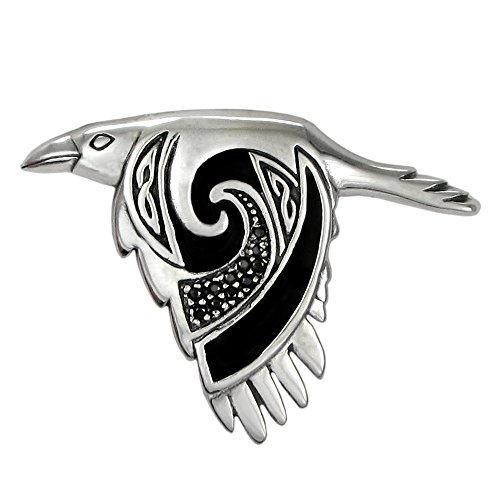 - Moonlight Mysteries Large Sterling Silver Flying Celtic Raven Pendant with Black Enamel Finish