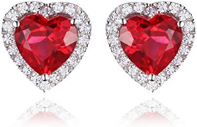 Jewelrypalace 2.98ct Heart Created Red Ruby 925 Sterling Silver Stud Earrings