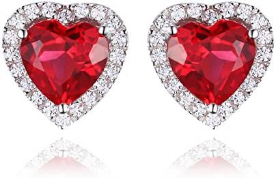 Jewelrypalace Women's 2.98ct Heart Shape Created Red Ruby 925 Sterling Silver Stud Earrings